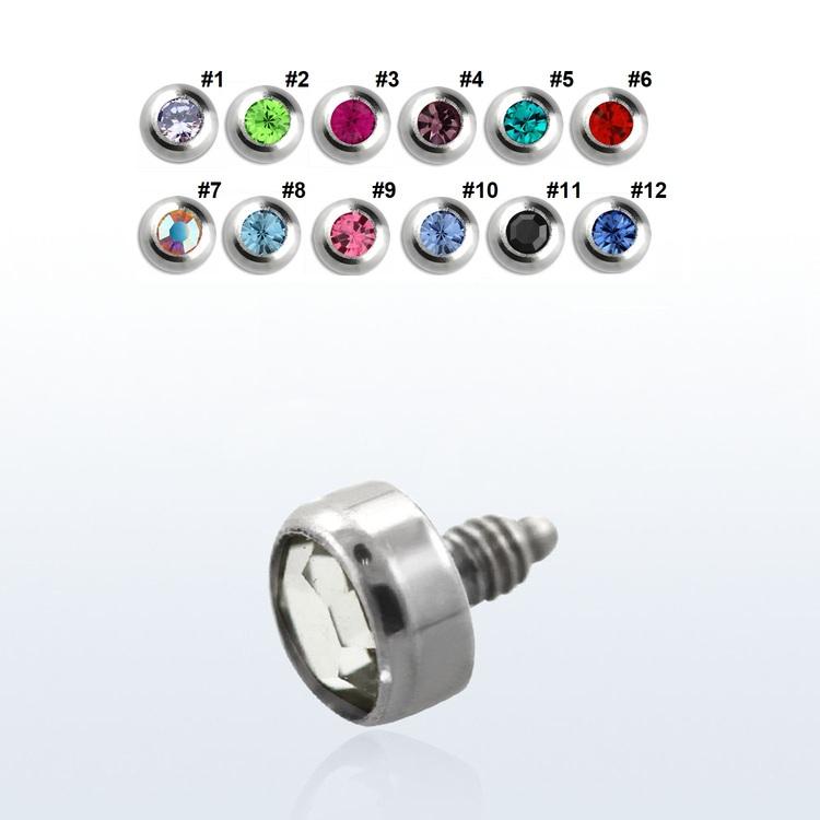 Dermal piercing 1.2mm med 3mm crystaltopp