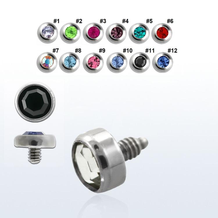 Dermal piercing 1.2mm med 4mm crystaltopp