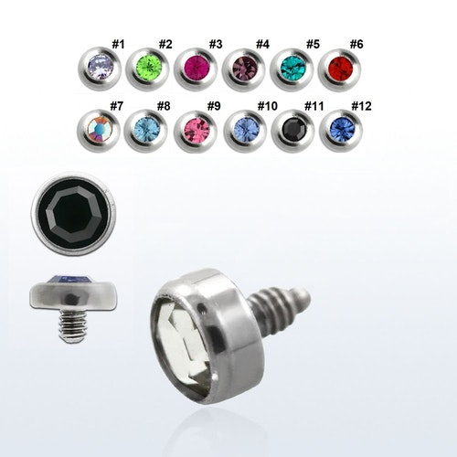 Dermal piercing 1.2mm med 4mm crystaltopp