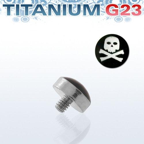 Titanium dermal piercing 1.2mm med dödskalle