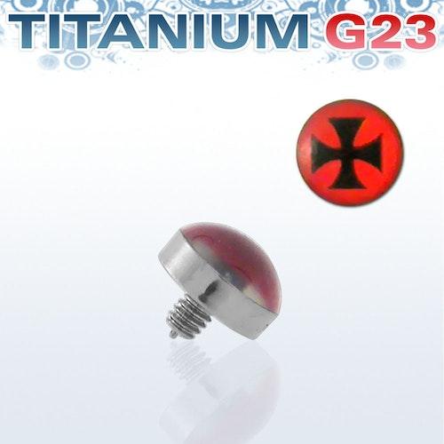 Titanium dermal piercing 1.2mm med järnkors