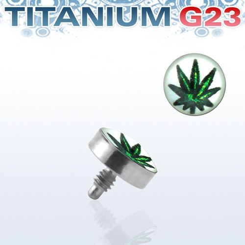 Titanium dermal piercing 1.2mm med marijuanablad