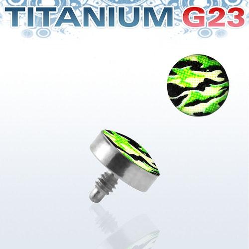 Titanium dermal piercing 1.2mm med kamouflage