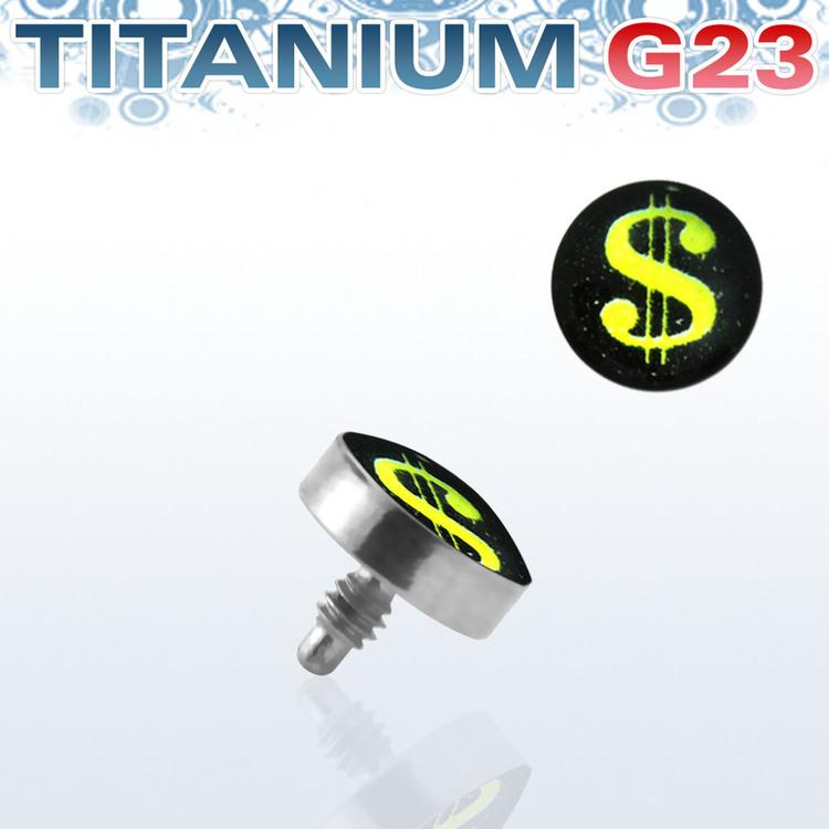 Titanium dermal piercing 1.2mm med dollartecken