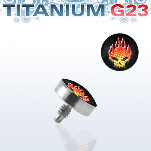 Titanium dermal piercing 1.2mm med flammande dödskalle