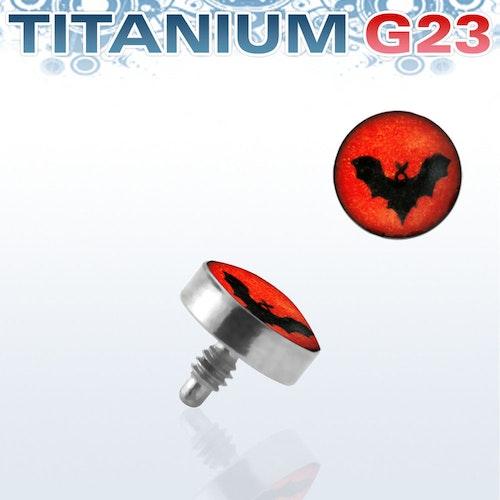 Titanium dermal piercing 1.2mm med fladdermus