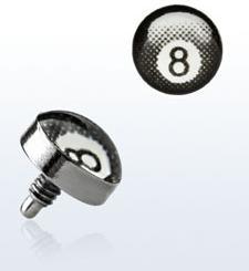 """Titanium dermal piercing 1.2mm med """"8-ball"""""""