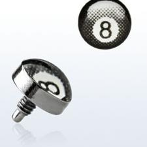 "Titanium dermal piercing 1.2mm med ""8-ball"""