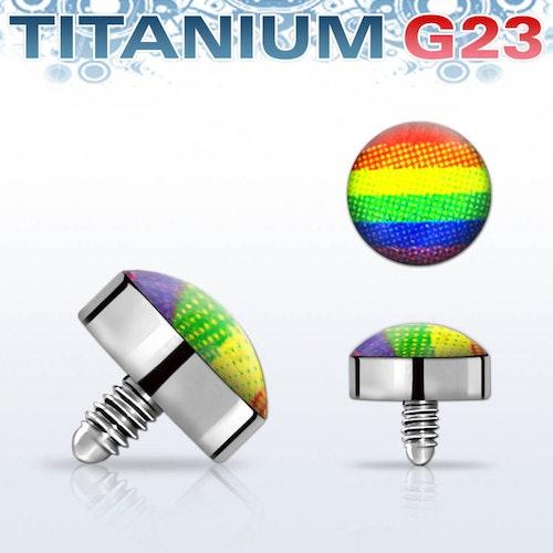 Titanium dermal piercing 1.2mm med regnbågsfärger