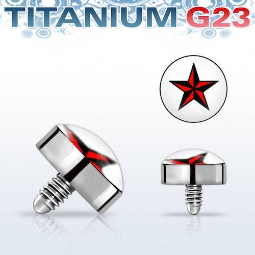 Titanium dermal piercing 1.2mm med röd stjärna