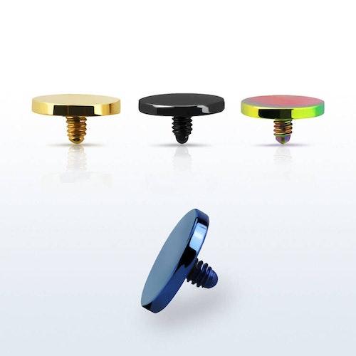Dermal piercing 1.2mm med 5mm eloxerad platt topp