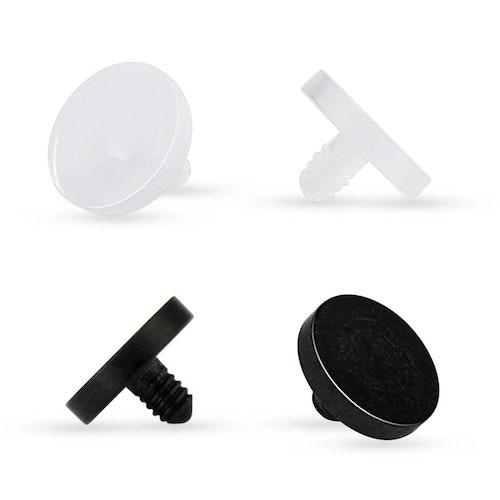 Dermal piercing retainer 1.2mm i akrylplast med 4mm platta