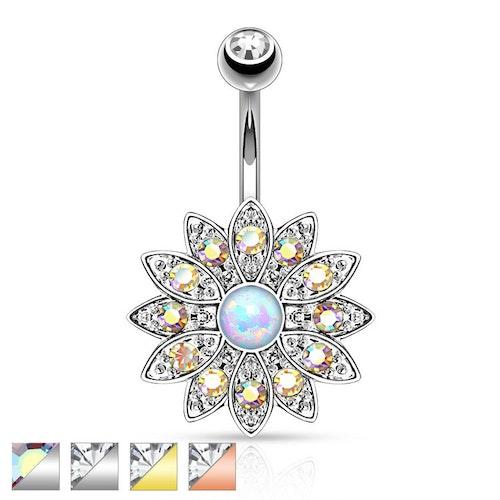 Navelsmycke - Blomma med stenar och opal