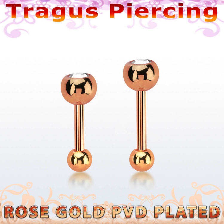 Tragus barbell 1.2mm roséguld med 4mm crystalkula