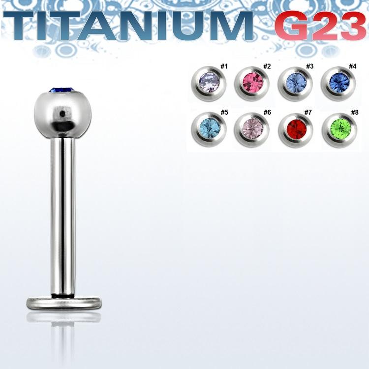 Titanium Labret / Monroe 1.2mm med 3mm crystalkula