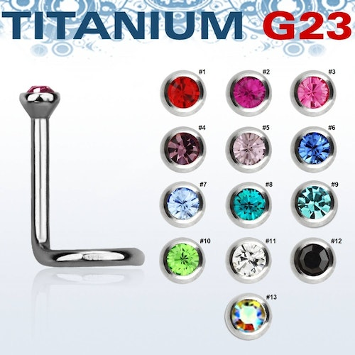 "Titanium Nässmycke ""Nose Screw"" 1mm med crystal"