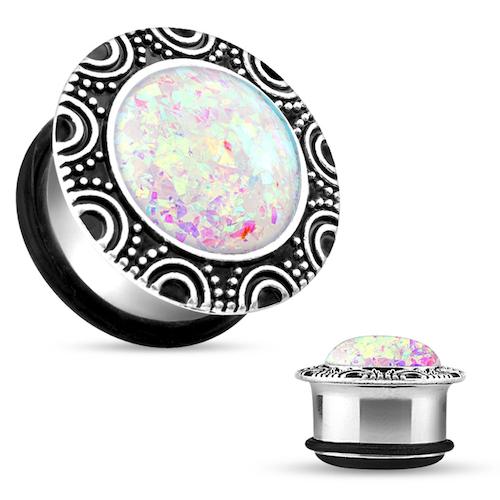 Stålplugg med glittrig opalitsten
