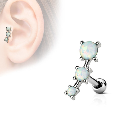Tragus / helix barbell med 3 opaliter
