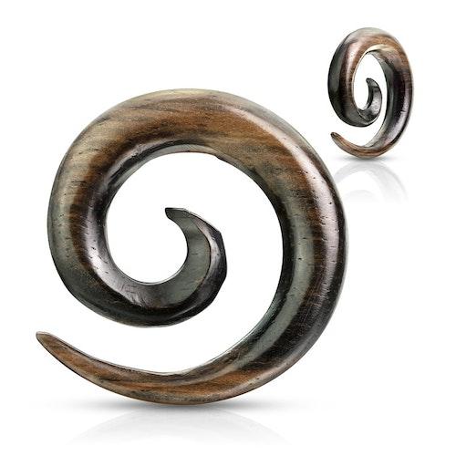 Ebony wood Töjspiral i trä med ränder