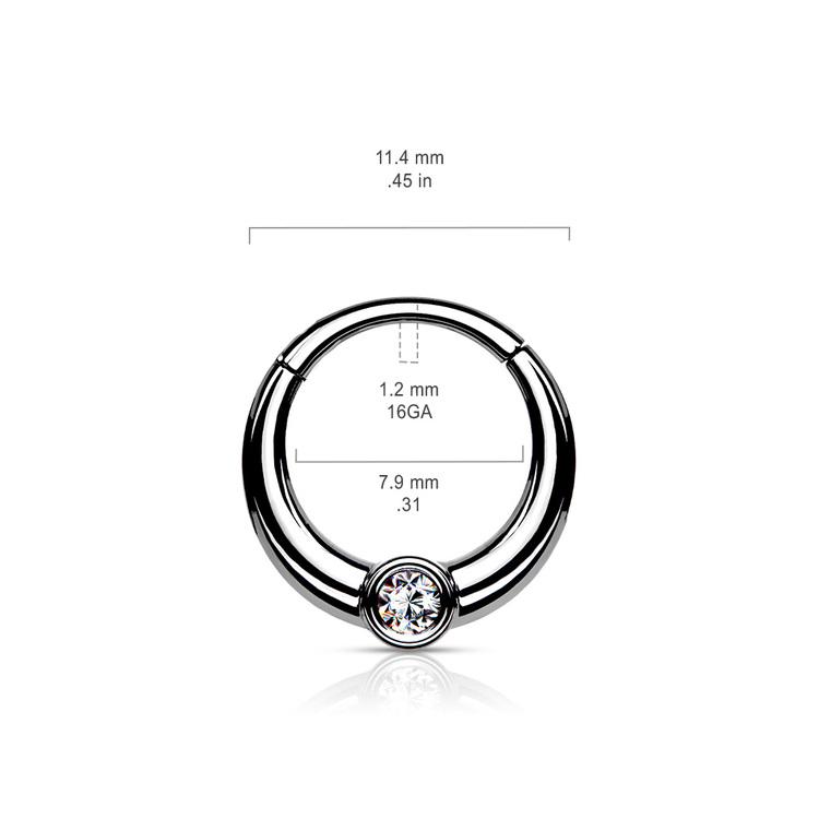 Segmentring med gångjärn 1.2mm med 1st frontad CZ crystal
