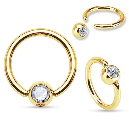 BCR guldpläterad ring med klar crystalkula
