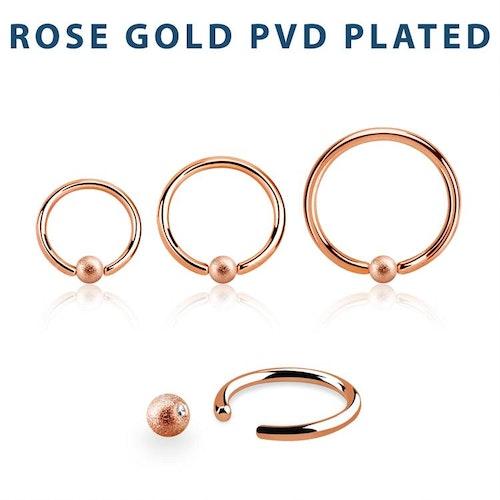 PVD-Pläterad BCR 1mm med 3mm frostad kula roséguld