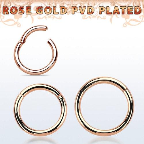 PVD-Pläterad segmentring med gångjärn 2mm roséguld