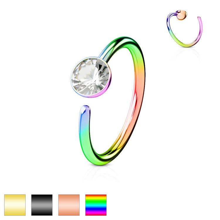PVD-pläterad näsring 0.8mm med 3mm crystal