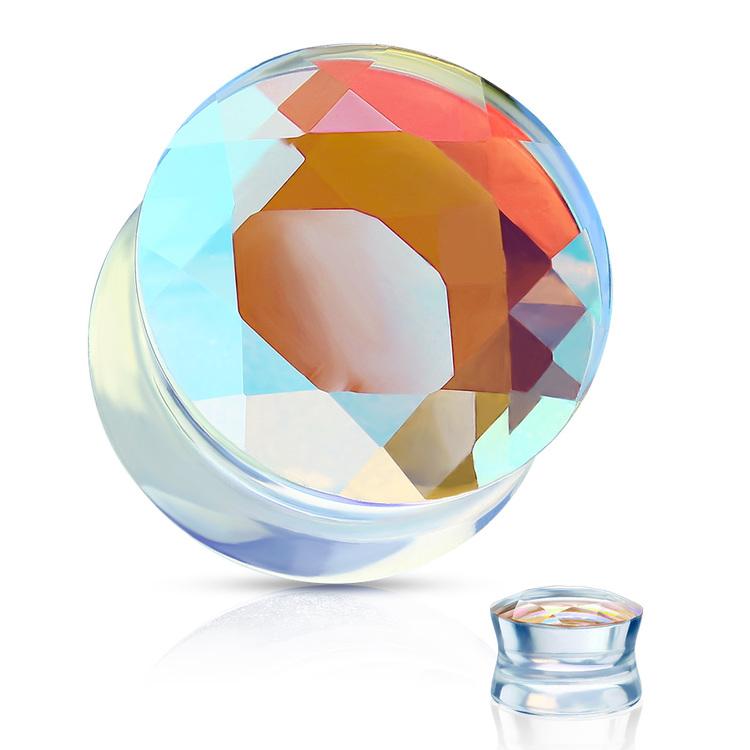 Pyrex facettslipad glasplugg med iriserande effekt