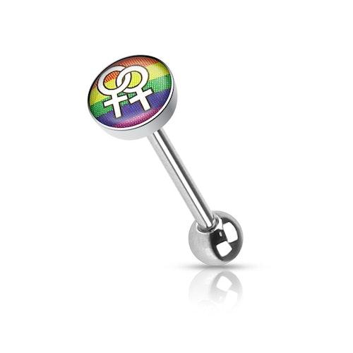 Barbell / Tungstav med gay pride kvinnosymbol