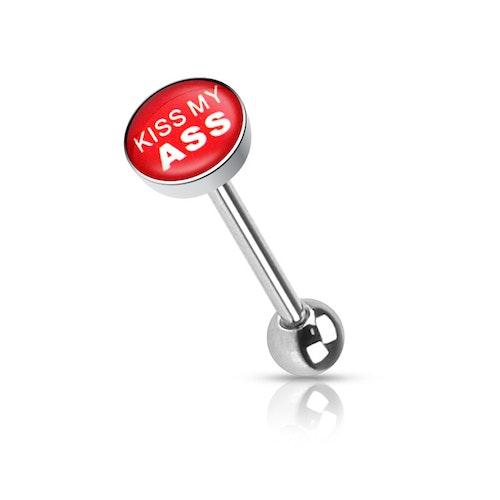 """Barbell / Tungstav med """"kiss my ass"""" logo"""