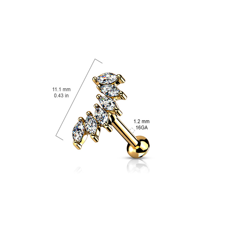 Tragus / labret med 6st marquise-cut CZ