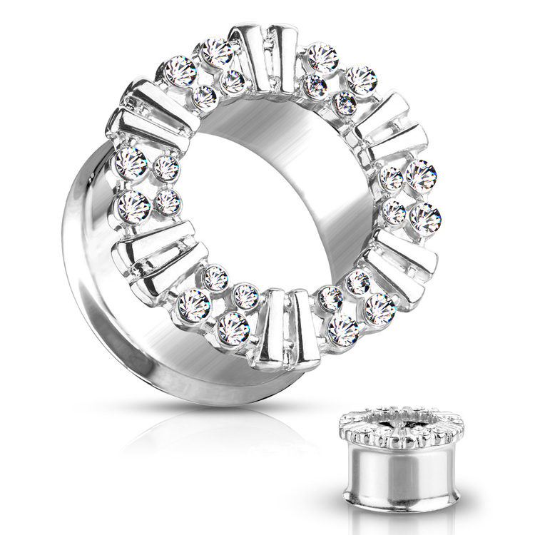 Double flare tunnel med cubic zirconia