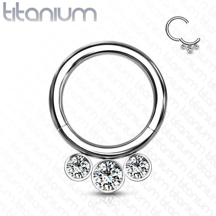 Septum segmentring i titanium med gångjärn 1.2mm och 3st crystals