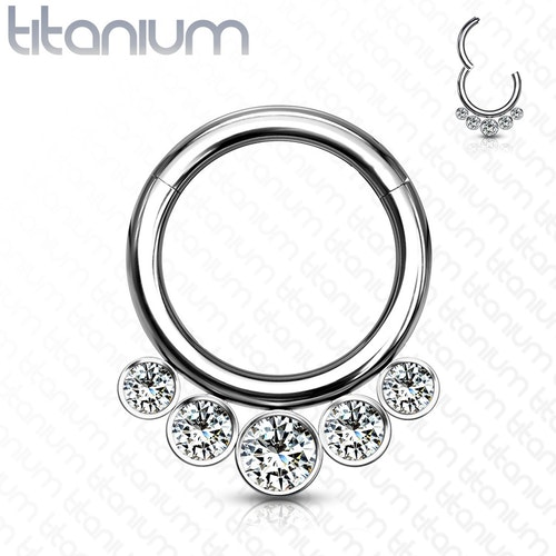 Septum segmentring i titanium med gångjärn 1.2mm och 5st crystals