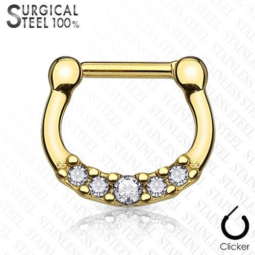 Septum clicker 1.2mm med 5 crystals (guld)