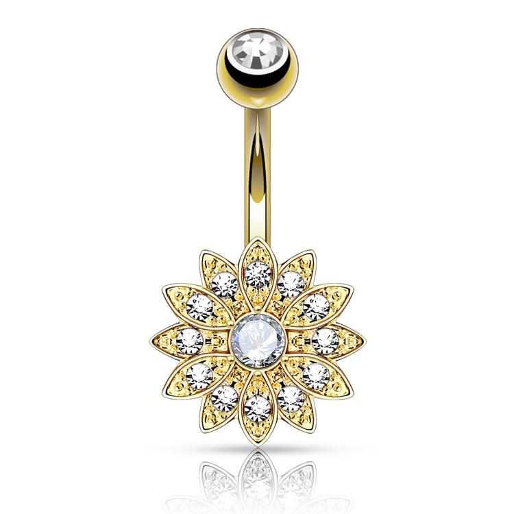 Navelsmycke - Blomma med crystal