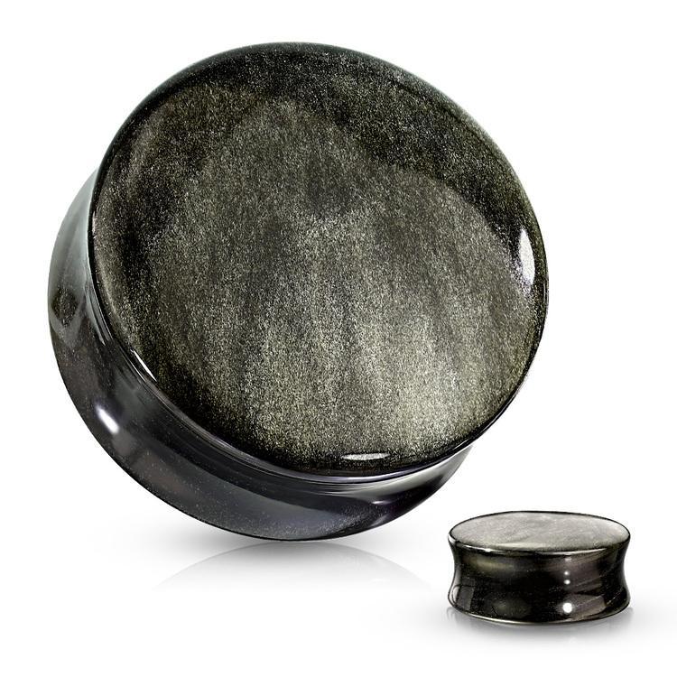Konvex stenplugg i guldobsidian