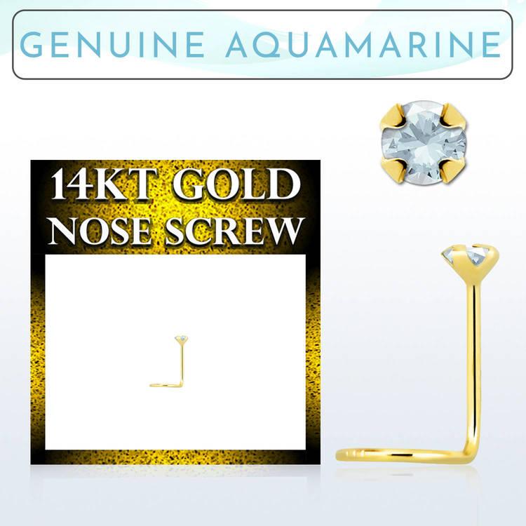 """Nässmycke """"nose screw"""" 0.6mm i 14 karat guld med aqua sten"""