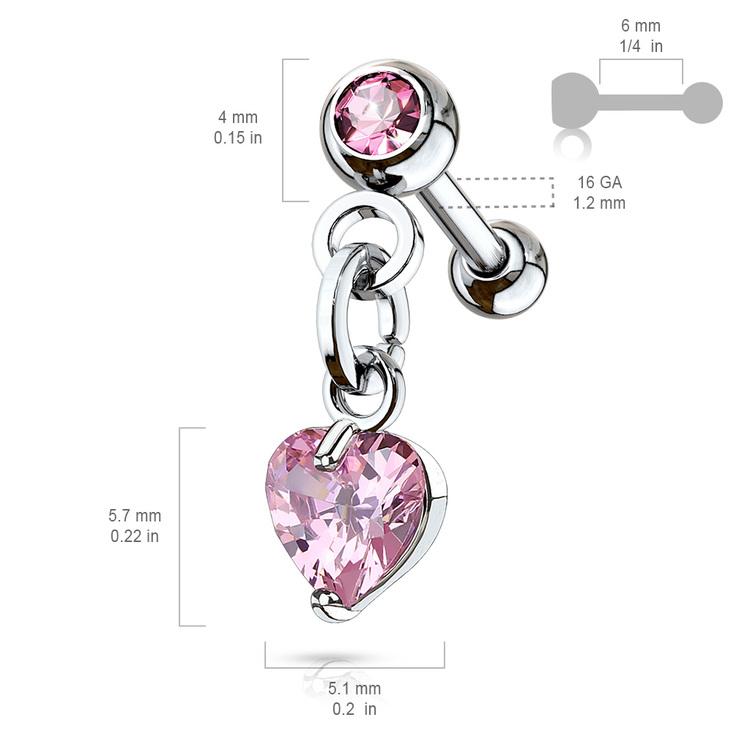 Helix barbell - hänge med hjärtformad crystal