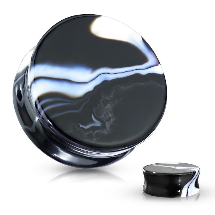 Stenplugg svart och vit agat