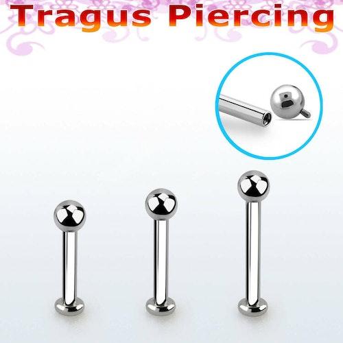 Tragus labret 1.2mm invändigt gängad stav med 3mm kula