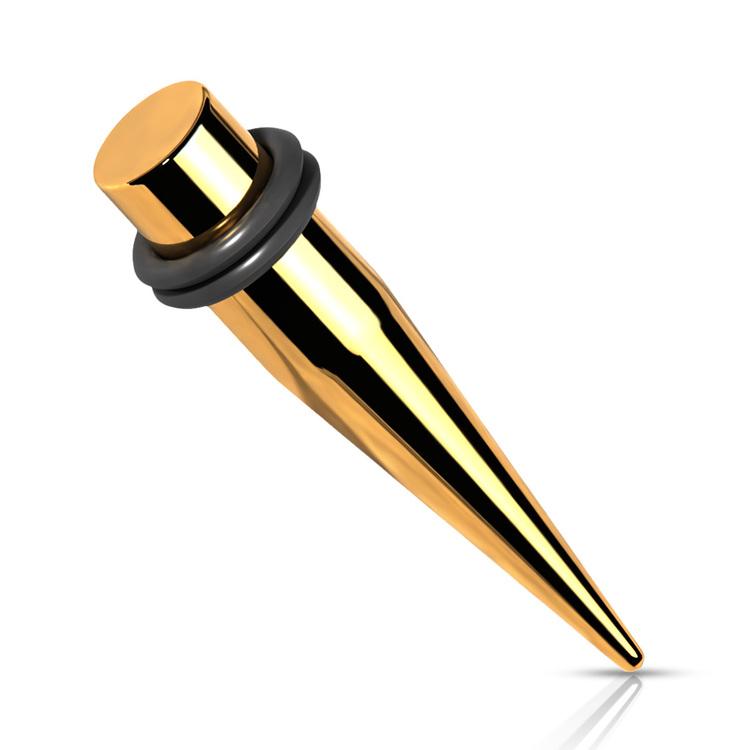 PVD-Pläterad töjning / taper i stål med O-ringar (guld)