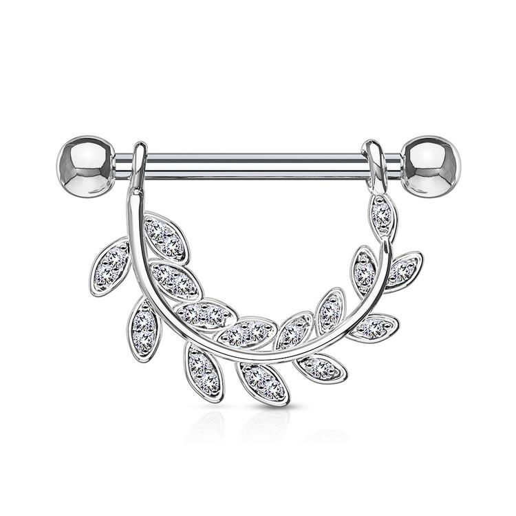 Barbell / Bröstsmycke - CZ hänge med crystal