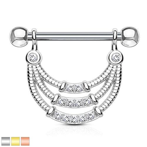 Barbell / Bröstsmycke med hänge - trippelt hänge med CZ