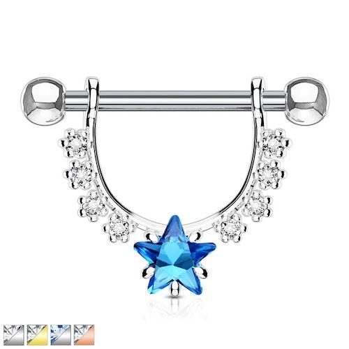 Barbell / Bröstsmycke - hänge med stjärnformad CZ