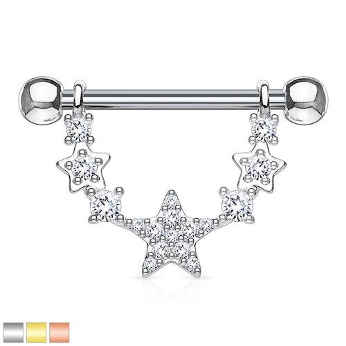 Barbell / Bröstsmycke - hänge med länkade stjärnor
