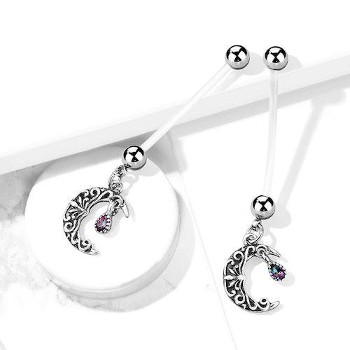 """Gravidnavelsmycke - Måne """"antik silver"""" med crystal"""