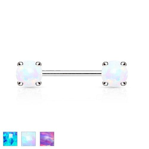 Barbell / Bröstsmycke 1.6mm 12mm med 5mm prong-set opal