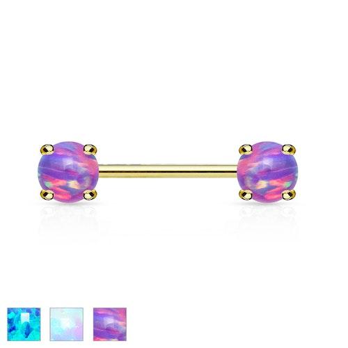Barbell / Bröstsmycke guldpläterad 1.6mm 12mm med 5mm prong-set opal